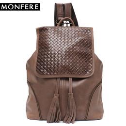 Styles Backpacks Australia - MONFERE Italian Leather Backpack for Women Vintage Retro Style Flap Drawstring Shoulder Bags School Life Travel Holiday Knaksack