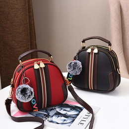Fur handbags For girls online shopping - Fashion Pu Leather Handbag For Women New Girl Messenger Bags With Ball Toy Bolsa Female Shoulder Bags Ladies Party Handbags SH190812