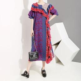 $enCountryForm.capitalKeyWord NZ - New 2019 Korean Style Women Summer Long Colorful Dress Short-Sleeve Floral Printed Ruffles Female Stylish Party Dress Robe F281