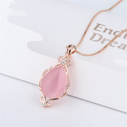 Quartz Pendants Australia - 14k Jade Necklaces Natural Pink Crystal Ross Quartz Pendant Rose Gold Clavicle Jewelry For Women Bizuteria Bijoux Or Chalcedony Y19051602