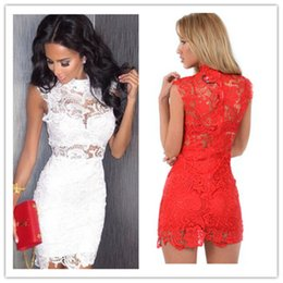 $enCountryForm.capitalKeyWord Australia - Casual Dress for Woman Summer Knee Length Lady Sleeveless Red Stretch Girl Beach Wed Dress Simple White Party Sexy Bandage Bodycon Dresses