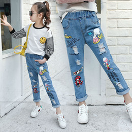 83d48f6444c Teenage Girls Jeans 2018 Spring Summer Children Broken Hole Pants Kids Denim  Trousers Cartoon 8 10 12 14 Years Old