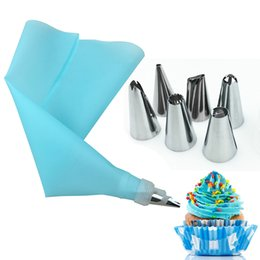 Cupcake Icing Set Australia - 8pcs Set Stainless Steel with Silicone Bag Russian Tulip Icing Piping Nozzles Cake Decoration Kitchen DIY Tool Cupcake Cream Pastry Decor