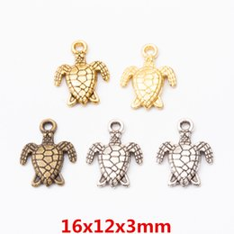 $enCountryForm.capitalKeyWord Australia - 50pcs Antique tibetan silver plated turtle turtoise charms gold dangle vintage metal pendants diy jewelry making charm ornament decoration