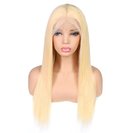 Long Blonde Straight Human Hair UK - Wholesale excellent 613 blonde lace wig brazilian straight virgin remy human hair 13*4 lace frontal wig