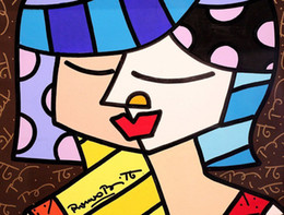 Abstract Oil Prints Australia - Romero Britto Cartoon Abstract Art Happy Girl,Oil Painting Reproduction High Quality Giclee Print on Canvas Modern Home Art Decor