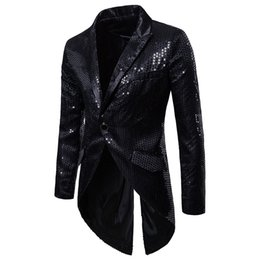 Wholesale glitter costumes resale online - Men Black Sequin Glitter Tailcoat Suit Jacket Brand Slim Fit Single Button Tuxedo Blazer Men Party Stage Singer Costume Homme