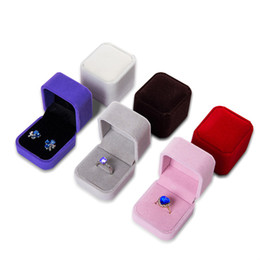 $enCountryForm.capitalKeyWord NZ - Wholesale 10Pcs Quality Engagement Wedding Velvet Earrings Ring Box Square Amazing Party Ring Jewelry Display Gift Case boxes