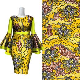 Wholesale bazin riche fabric resale online - Latest Bright Yellow Flower Pattern Batick Bazin Riche African Fabric African Wax Prints Fabric new Wax fabric