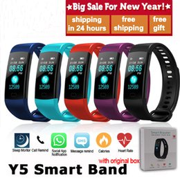 electronics ratings NZ - Y5 Smart Band Watch Color Screen Wristband Heart Rate Activity Fitness tracker Smart Electronics Bracelet VS Xiaomi Miband 2