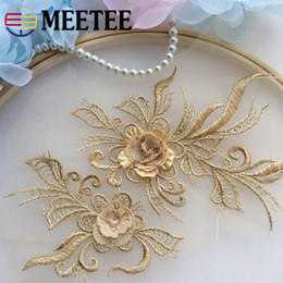 EmbroidEriEd patchEs online shopping - MEETEE D Flower Lace Applique For Wedding Dresses Embroideried Mesh Lace Trims Bridal Hair Trimmings Sewing Patches DIY Crafts