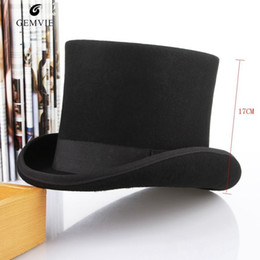 e566b36221a England Style Men Top Hat 100%wool Fedoras Mad Hatter Top Hats Traditional  Flat Top President Hat Party Steampunk Magician Cap C19022301