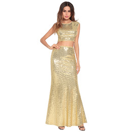 46ab4e580bd3 Hot Fashion Luxury Sleeveless Women Sequins Girl Dress Beach Evening Party  Fishtail Dress Long Skirt Two-piece Sexy Dress 2802