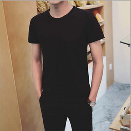 Black Blank T Shirts NZ - Summer Crew Neck Short Sleeve Men's T-shirts Tee Casual Breathable Blank O-neck Solid T Shirt Men White Black