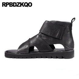 Open Toe Genuine Leather Sandals Australia - Casual Sandals Men Gladiator Summer Luxury Genuine Leather Flat Black Fashion High Quality Roman Boots Open Toe Slip On 2018