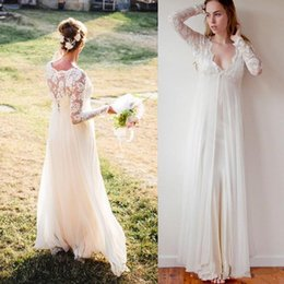 Zipper Brooches Australia - A Line Beach Wedding Dresses Long Sleeves V Neck With Back Zipper Bridal Gowns Chiffon Plus Size Wedding Dresses