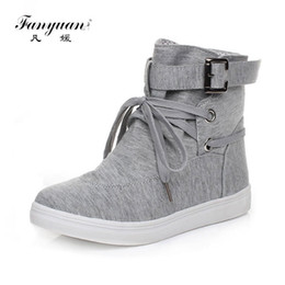 $enCountryForm.capitalKeyWord NZ - Fanyuan boots Black Round Toe Platform High-top Canvas Buckle Shoes Woman Lace Up boots Student Flat Ankle Boots Botas Mujer