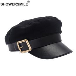 1c30708d wholesale Wool Newsboy Caps Winter Black Captain Hat Women Leather Flat Caps  Ladies Elegant Classic British Baker Boy Cap 2019