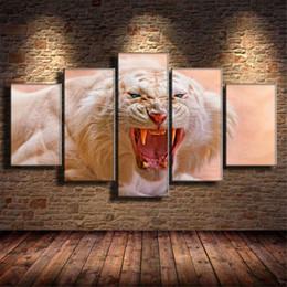 $enCountryForm.capitalKeyWord Australia - White Tiger,Roaring,5 Pieces Home Decor HD Printed Modern Art Painting on Canvas (Unframed Framed)