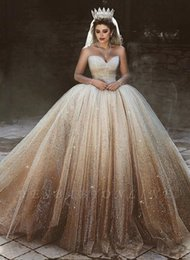 Wedding dresses sWeetheart neckline straps online shopping - Sparkly Tulle Sequins Ball Gown Wedding Dresses Sheer Long Sleeves Scoop Sweetheart Neckline Puffy Bridal Gowns Arabic Dubai Luxury Style