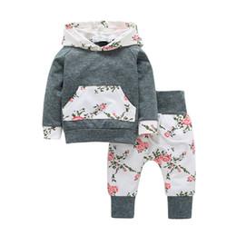 Long Woolen Shirts Girls Australia - Toddler Newborn Baby Girls Clothes Long Sleeve Floral Hooded T-shirt Tops +Pant Kids Clothing Set