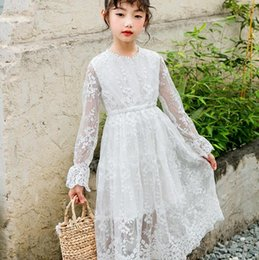 kids princess velvet clothes UK - Vieeoease Girls Dress Flower Kids Clothing 2019 Spring Summer Fashion Long Sleeve Lace Princess Dress CC-389