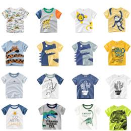 Fashion For Short Girls NZ - Free DHL Designing Boys Tees Summer Infant Cotton Girls Tee Cartton Car Dinosaur Monkey Shark Girls Short Sleeve T-shirts Suits For 1-10T