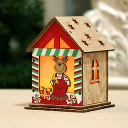christmas gift candles Australia - Gift Handcraft With Candle Light Deer Christmas Tree Wooden House Portable Durable Kids Hanging Led DIY Decoration