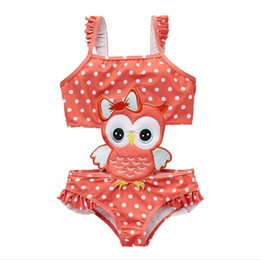 Wholesale Baby girl swimsuit New Kids baby One Pieces Bathing Suit girl Red Bottom White dot cute Owl Ruffles Embroidery pattern swimwear Top Quality