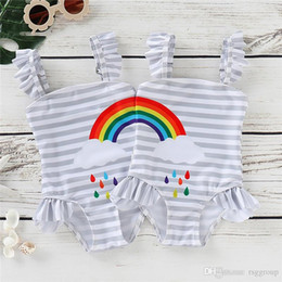 $enCountryForm.capitalKeyWord Australia - INS Little Girls Swimwear Rainbow Belt Ruffles Gray Stripes Swimming Clothing Outfits Designer Kids Girls Swim Bikini Outfits 0-5T
