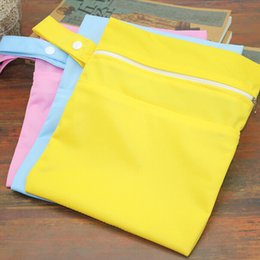 waterproof wet bags cloth diapers Canada - Reusable Baby Diaper Bags Double Zippered Wet Dry Bag Waterproof Wet Cloth Diaper Stroller Hanging Outerdoor Diaper Cover WetBag
