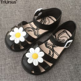 flower shoes kids NZ - Girls Sandals Summer Kids Shoes PVC Jelly Close-Toed Sandals 2020 Toddler Girl Black Beach Shoes Cut-Outs Flowers