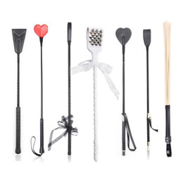 Spank toyS online shopping - BDSM Bondage Ratton Whip Straight Leather Prop Flogger Whip Spanking Cane Riding Crop Stick Exotic Costumes SM Play Sex Toys