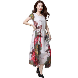 middle age summer dresses UK - New Middle Aged Women Dress Summer O -Neck Print Chiffon Long Dress Fashion Plus Size Loose Mother Beach Dress