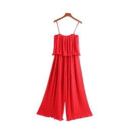 $enCountryForm.capitalKeyWord Australia - Women Chiffon Red Black Pleated Jumpsuits Elastic Waist Ruffles Sleeveless Backless Rompers Female Chic Playsuits Ka851