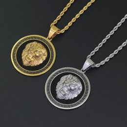 $enCountryForm.capitalKeyWord Australia - Hip Hop Lion Head Round Pendant Necklaces For Men Western Animal Luxury Necklace Stainless Steel Cuban Chains Dog Tag Jewelry M085F