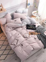 deer bedding sets 2019 - 3 4 Pcs Bed Linen Set Deer Horn Printed Soft Cozy Bedding Set cheap deer bedding sets