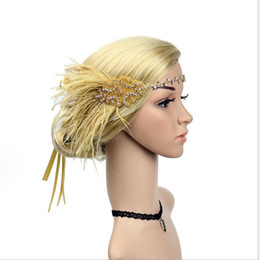 Dance Hair Australia - Water drill alloy head with feather sequins ribbon hair decoration European and American dance headdress