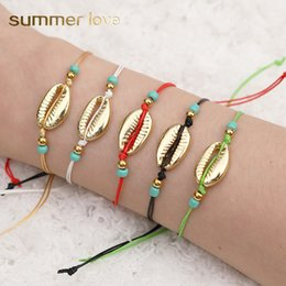 Woven anklets online shopping - Beach Summer Bohemian Shell Gold Bracelet Anklets For Women Handmade Woven beaded Rope Chain Bracelet Jewelry Holiday Accessories