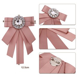 wedding groom figures Australia - i-Remiel New Tie Bows Brooch Rhinestone Cloth Art Pins And Brooches Ladies Broaches Collar Decoration Groom Blouse Jewelry Badge
