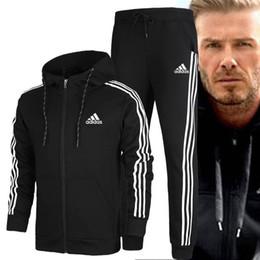 Wholesale men sweat suits resale online – Tracksuit Men Set Striped Sportswear Sweatsuit Male Sweat Track Suit Jacket Hoodie with Pants Mens Sporting Suits fashion Jogging Suits