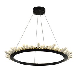 Cottage Kitchen Black Iron Lighting Australia - Modern Crystal Chandelier For Living Room Northern Europe Black LED Hanging Lighting Fixture Luxury Home Decoration Lustres De Cristal