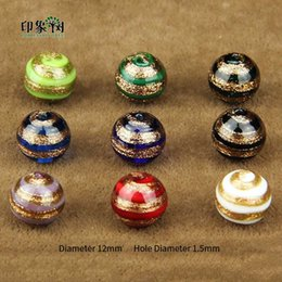 Gold Sand Lampwork Wholesale Australia - 12mm Handmade Lampwork Gold Sand Wrap Loose Spacer Color Stripe Surface Glass Beads Multi Color For Jewelry Making 1637