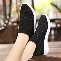 $enCountryForm.capitalKeyWord Australia - 2019 Spring Single Shoes Women's Socks Shoes Knitted Rhinestones Elastic Flat Bottom One Pedal Casual Lazy Shoes