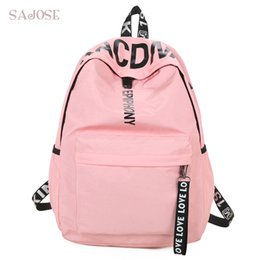 $enCountryForm.capitalKeyWord NZ - Women Canvas Backpack For School Teenagers Girls Casual Shoulder Bags Ladies Pink Letter Backpack Female Bookbag Student Bag