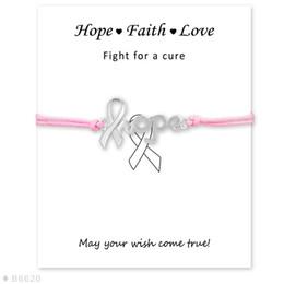 Unisex rot gelb rosa grau lila grün Kordel mit Beschriftungskarte Silber Hope Ribbon Awareness Charm Armbänder für Frauen