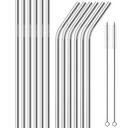 wholesale juice packs NZ - 100pcs Stainless Steel Metal Drinking Straw Beer Juice Straws Cleaning Brush Set 4+1 Kit Fits Cups Retail Packing
