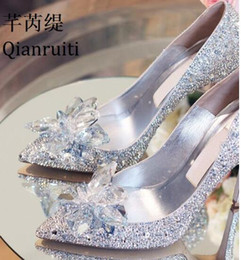 2cae4f8f67b7 2019 Cinderella shoes Silver Glass Bridal Wedding Shoes Classics Bling  Crystal High Heels Shoes Woman Pointed Toe Women Pumps Zapatos Mujer