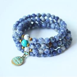 6mm Mala Beads Australia - Fashion Yoga jewelry Natural sodalite 6mm 108 Mala Beads with lotus Necklace Strands Elastic bracelet for women Yoga Healing dropshipping