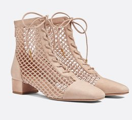 $enCountryForm.capitalKeyWord Australia - Summer Sexy Women Fishnet Ankle Boots Breathable Hollow Outs Lace Up Low Heels Gladiator Cut Outs Sandal Booties Black Beige Big size 44